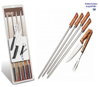Kit Churrasco Inox 8Pc